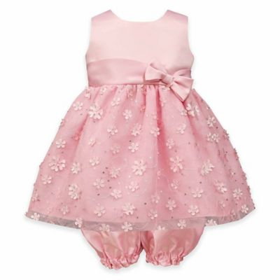 Jayne Copeland Size 9M 2-Piece Sleeveless Sequins and Flowers Dress and Diaper Cover Set in Pink