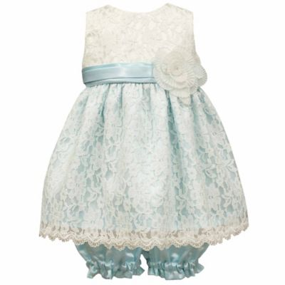 Jayne Copeland Size 24M 2-Piece Scalloped Lace Overlay Dress and Bloomer Set in Blue/Ivory