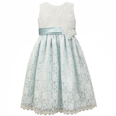 Jayne Copeland Size 2T Scalloped Lace Overlay Dress in Blue/Ivory