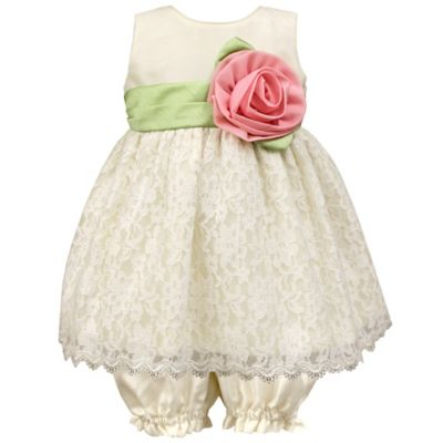 Jayne Copeland Size 3M 2-Piece Scalloped Lace Overlay Dress and Bloomer Set in Ivory