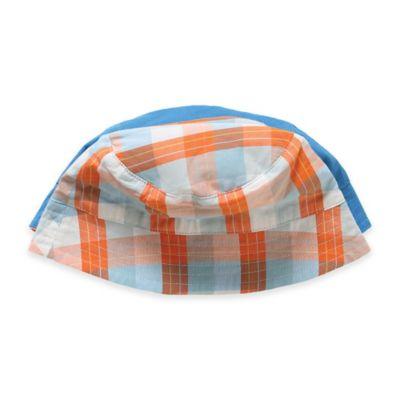 Rockin' Baby Seaside Noah Size 0-6M Reversible Sun Hat in Orange and White Plaid/Blue