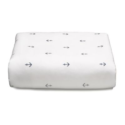 Liz and Roo Nautical Mini Anchors Fitted Crib Sheet in White/Navy