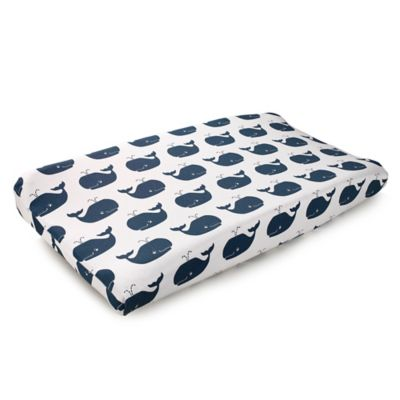 Liz and Roo Nautical Whales Contoured Changing Pad Cover