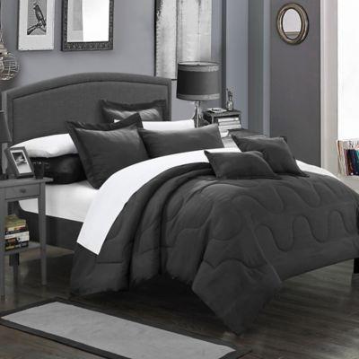 Chic Home Dinarelle 11-Piece King Comforter Set in Black