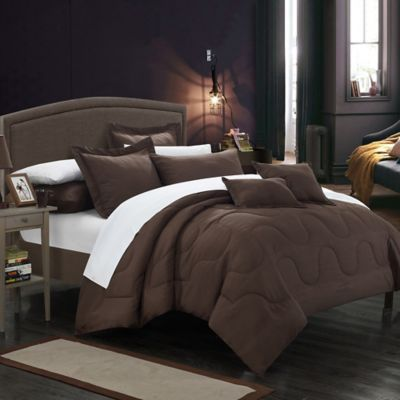 Chic Home Dinarelle 11-Piece King Comforter Set in Brown