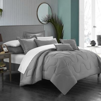 Chic Home Dinarelle 11-Piece King Comforter Set in Silver