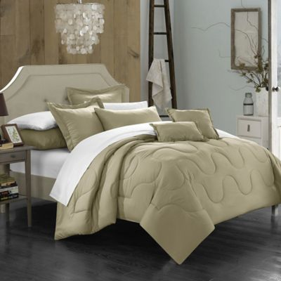 Chic Home Dinarelle 11-Piece King Comforter Set in Taupe