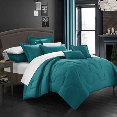 Chic Home Dinarelle 11-Piece King Comforter Set in Teal