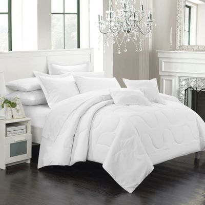Chic Home Dinarelle 11-Piece King Comforter Set in White