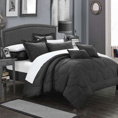 Chic Home Dinarelle 5-Piece Twin Comforter Set in Black