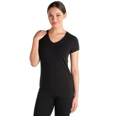 Avani Fitwear Small Short Sleeve V-Neck Top in Black