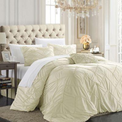 Chic Home Ella 5-Piece King Comforter Set in Beige
