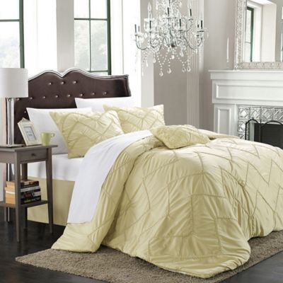 Chic Home Ella 5-Piece Queen Comforter Set in Beige