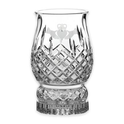 Belleek Galway Crystal Claddagh Friendship Pillar Hurricane Lamp