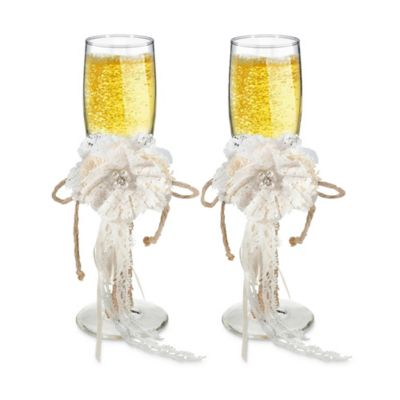 Lillian Rose™ Burlap and Lace Toasting Flutes (Set of 2)