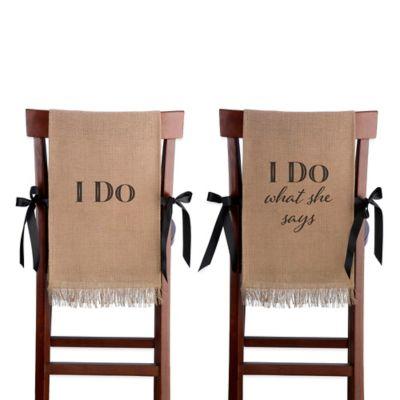 "Lillian Rose™ ""I Do"" Burlap Chair Cover Set"