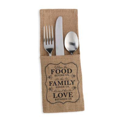 Lillian Rose™ Food and Family Burlap Silverware Holder (Set of 4)
