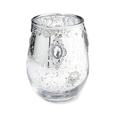 Lillian Rose™ Embellished Glass Candle Holder in Silver