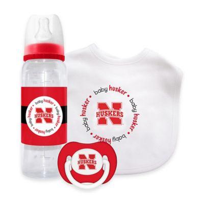 NCAA University of Nebraska 3-Piece Pacifier, Bottle, and Bib Gift Set