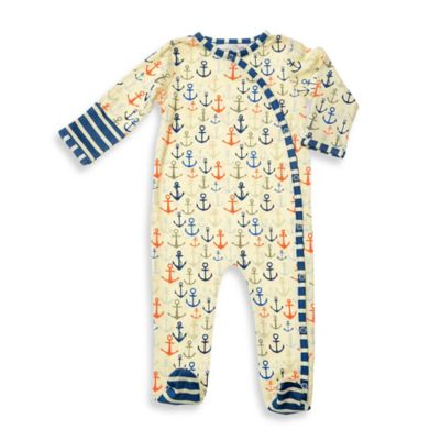Lucky Jade Size 0-3M Anchor Print Asymmetrical Snap-Front Footie in Ivory/Blue