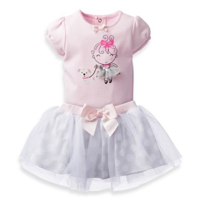 David Tutera™ Size 0-3M 2-Piece Sophie Dot Applique Bodysuit and Tulle Skirt Set in Pink/White
