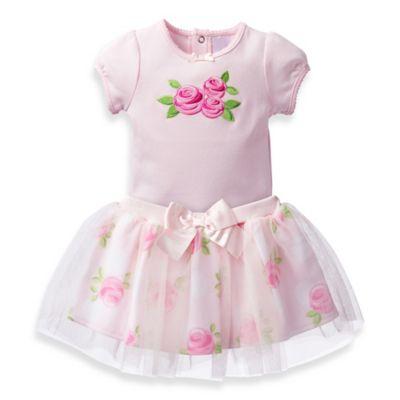 David Tutera™ Size 0-3M 2-Piece Sweet Rose Applique Bodysuit and Tulle Skirt Set in Pink