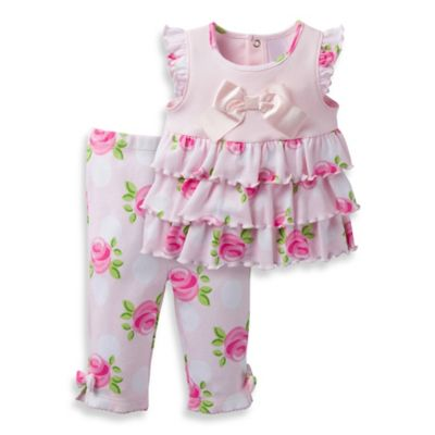 David Tutera™ Size 0-3M 2-Piece Sweet Rose Flutter Sleeve Top and Legging Set in Pink