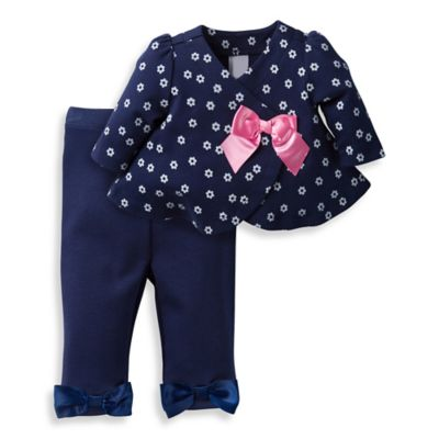 David Tutera™ Size 0-3M Daisy Toss Swing Jacket and Legging Set in Navy/Pink