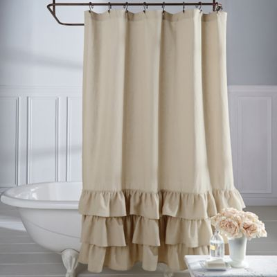 buy amelie ruffle 72 inch x 84 inch shower curtain in white from bed bath beyond. Black Bedroom Furniture Sets. Home Design Ideas