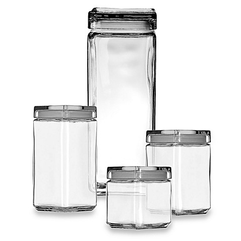 Buy anchor hocking 1 quart stackable square canister from for Bathroom containers with lids
