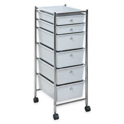 6-Drawer Plastic Rolling Storage Cart in Chrome/Grey