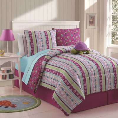 VCNY Khloe 3-Piece Twin Reversible Comforter Set in Purple