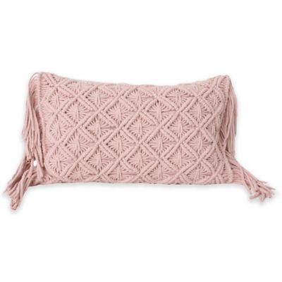 Mara Knit with Fringe 20-Inch x 12-Inch Throw Pillow