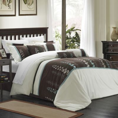 Chic Home Evasco 8-Piece King Comforter Set in Beige