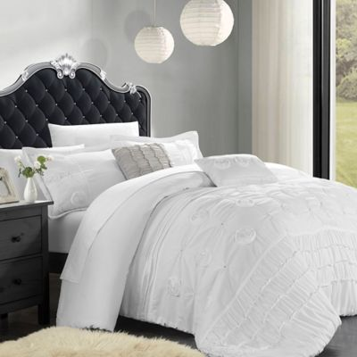 Chic Home Felix 9-Piece Queen Comforter Set in White