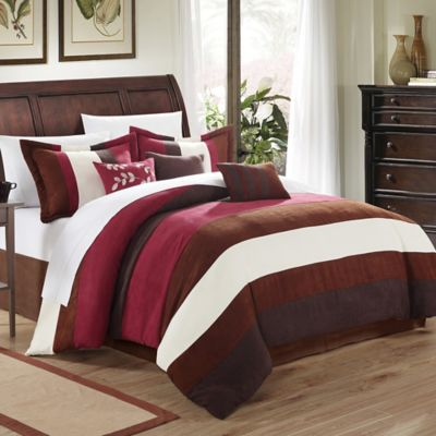 Chic Home Katherine 7-Piece Queen Comforter Set in Burgundy