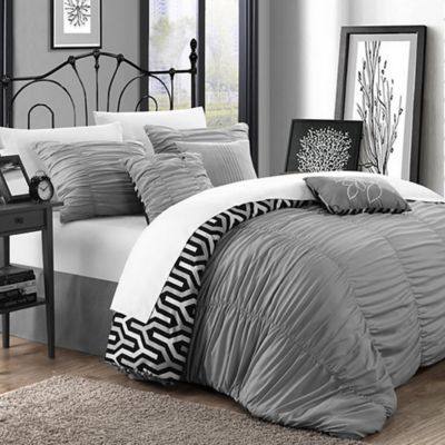 Chic Home Lassie 11-Piece King Comforter Set in Silver
