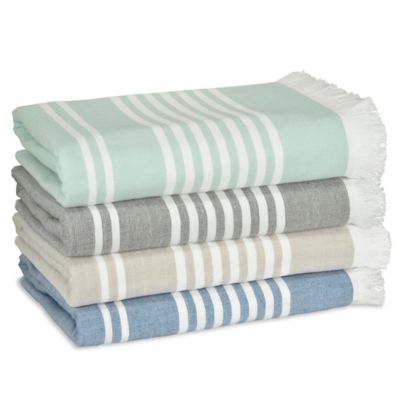 Leila Stripe Bath Towel in Aqua