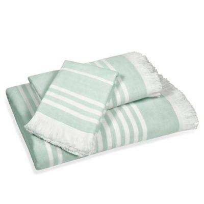 Leila Stripe Washcloth in Aqua