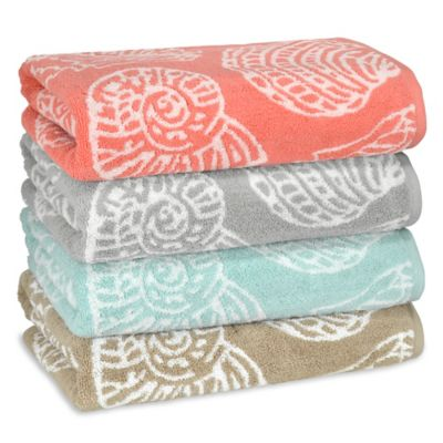 Sea Life Bath Towel in Beige