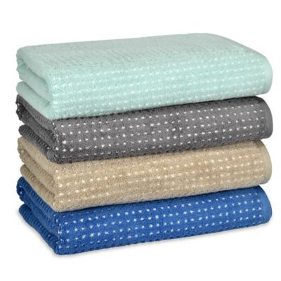 Ana Grid Bath Towel in Aqua