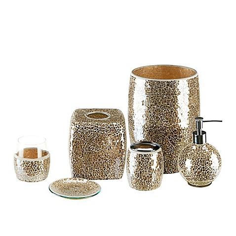 Gold crackle mosaic glass bath ensemble for Glass bath ensembles