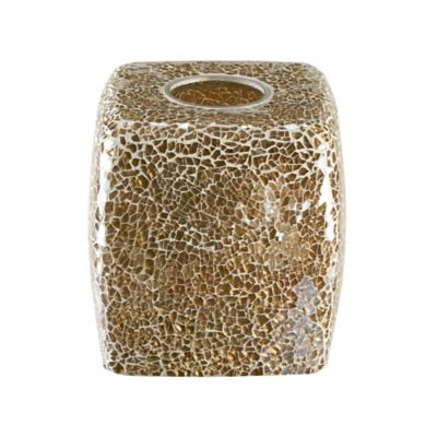 Gold Crackle Mosaic Glass Tissue Box Cover