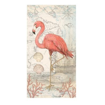 Caspari 16-Count Flamingo 3-Play Paper Guest Towels