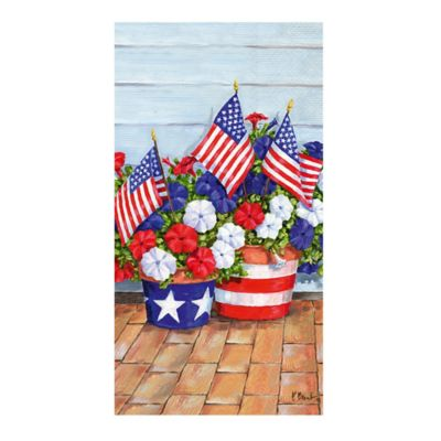 16-Count Patriotic Petunias Paper Guest Towels