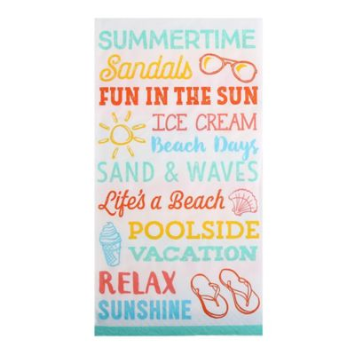 Caspari 16-Count 3-Ply Summer Typography Guest Towels