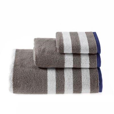 Riviera Stripe Washcloth in Grey
