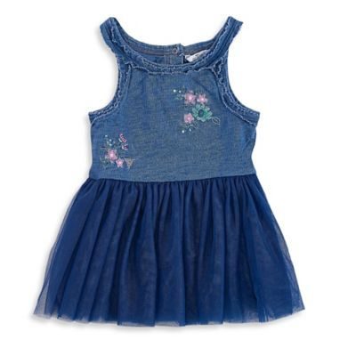 Guess® Size 0-3M 2-Piece Embroidered Denim-Look Tutu Tank Dress