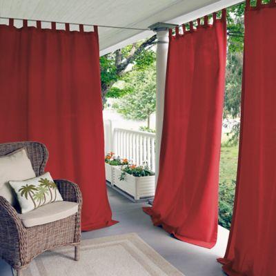 Elrene Matine 84-Inch Indoor/Outdoor Tab Top Window Curtain Panel in Red