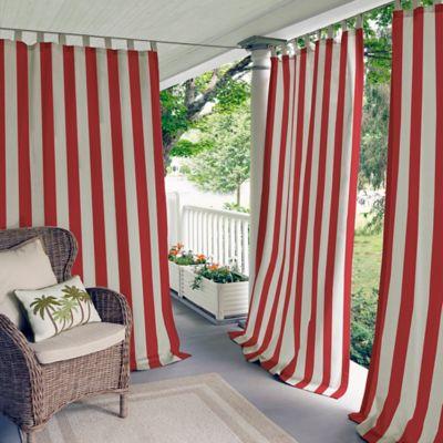 Elrene Highland Stripe 95-Inch Indoor/Outdoor Tab Top Window Curtain Panel in Red